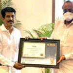 Ajit Pawar Deputy CM of Maharashtra gets felicitated by Deepak Harke National secretary WBR India with certificate of Commitment (Switzerland)